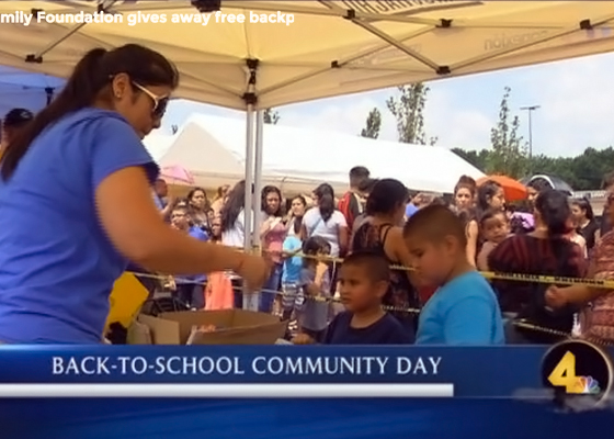 HFF gives away free backpacks, school supplies